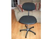 Office chair, adjustable height/back. Good condition. Black fabric seat cover/back rest.