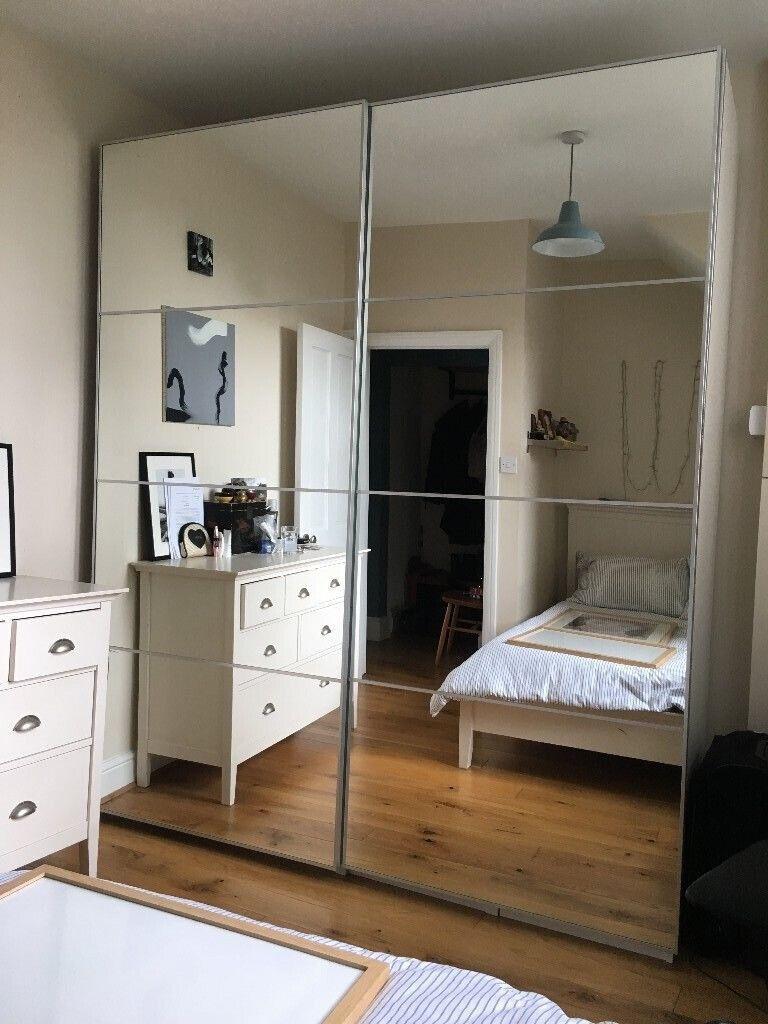 Ikea White Pax Wardrobe With Mirrored Sliding Doors Auli