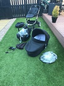 icandy apple 2 pear pram and buggy with accessories and car seat with base