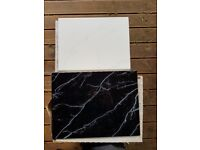 Ceramic wall tiles black and white with marble effect, 60 ( 5 boxes) tiles in total £25 ono
