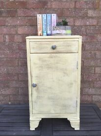 Yellow Shabby Chic Bedside Table/ Cabinet £40