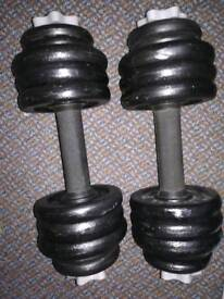 22kg Cast Iron YORK Dumbbell Weights Set (dumbell, barbell, gym, bench, press)