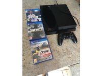 PS4 Slim excellent condition 1 controller fifa 18, cod infinite warfare, the crew wild run.