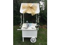 Candy Cart with accessories including jars, scoops, bags, tongs and organza decoration