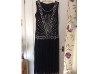 Size 22 Ladies Navy Beaded Dress