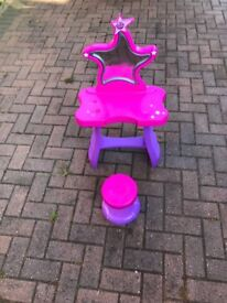 Girls Pink and Purple Dressing Table Light Up Mirror - Good condition