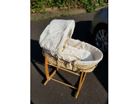 Used but very good condition Clair De Lune Moses basket and stand with with a hand made blanket.