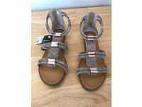 Gladiator Sandals size 4 snakeskin design