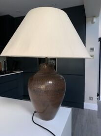 john lewis table lamp hammered brass with large shade £20