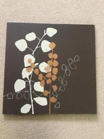 Brown leaf canvas picture