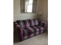 DFS Lovely comfortable 3 seater sofa/bed settee, footstool and armchair. All good condition