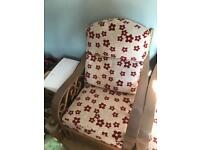 Conservatory furniture two chairs wood frame beige and red floral design in good condition