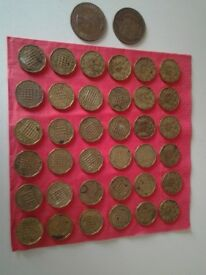36 Various Dates Brass Threepenny Bits Plus Two Pennies-See List Below