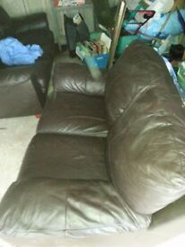 Brown leather 3 & 2 seater settees