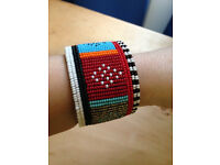 Hand Made African Beaded and Leather Cuff/Bracelet, Ethnic, Boho, Bohemian
