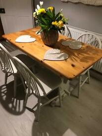 Shabby chic farmhouse dining table and 4 white chairs