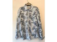 Fat Face Women's Blue & White Cotton Floral Long Sleeve Shirt SMALL 8 Top Blouse