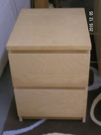Ikea Malm 2 drawer bedside table. Beech effect. Good condition.