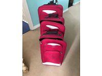 3 pink suitcase set