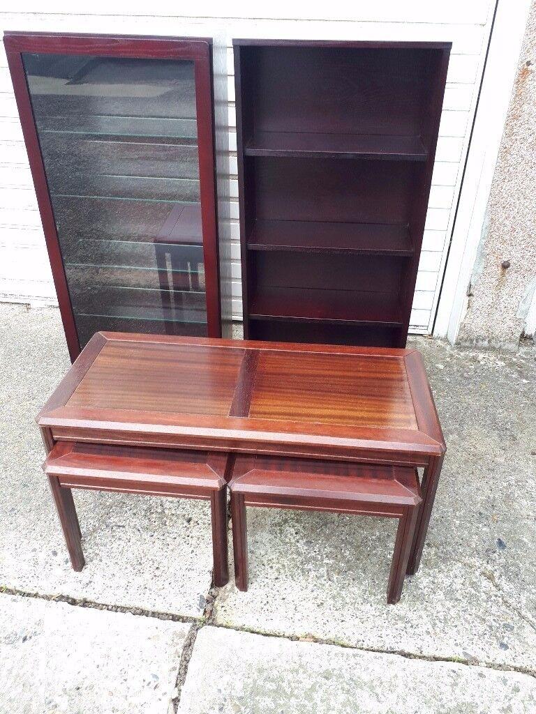 Mahogany furniture items.