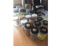 Various glass jam jars