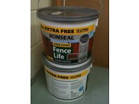 2 unused Ronseal One Coat Fence Life Fence Paint 12 Litre paint tubs