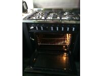 INDESIT Stainless/black 900mm wide RANGE cooker