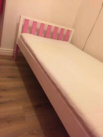 Kids pink and white bed frame