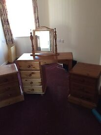 Pine bedroom suite dressing table and bedside cabinets