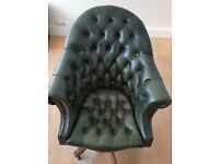 Admirals chair Green leather, GREAT CONDITION