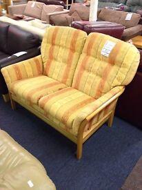 Yellow/Orange 2 Seat Fabric Sofa