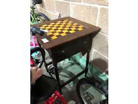 Antique glass tile top games table