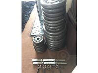 SET OF CAST IRON FREE WEIGHTS (135KG) DUMBBELL, BARBELL AND CURL BAR