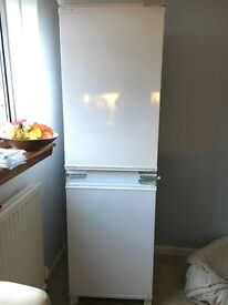 Built in integrated fridge freezer with beech unit