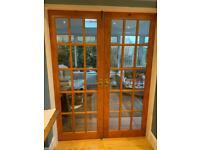 Glazed interior french doors.