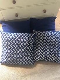 4 next blue cushions
