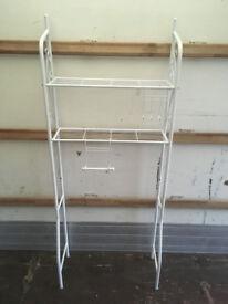 metal shelf / white shoe rack / hanger