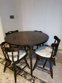 Mahogany style round dining table & 4 chairs for sale for sale