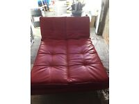 Red small double futon style sofa bed with click clack settings £30 ONO