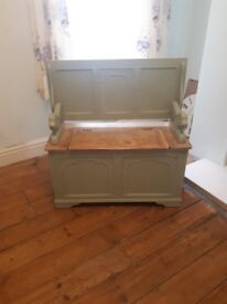 Wooden Monk's bench in sage green