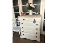 Tallboy Free Delivery in Ldn🇬🇧shabby chic solid wood chest of drawers