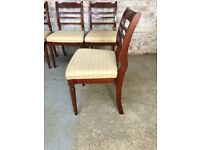 Set of 4 Mahogany Dining Chairs with slat backs and Fabric Seats
