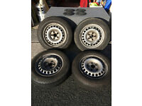 Steel wheels & good tyres x 4 plus centre caps. Off a VW T5. 16 inch.