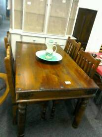 Indian pine table and 4 Chairs #33294 £99