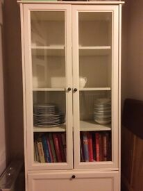 White wooden glass cabinet
