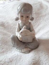 Ornament, Figurine, Girl Holding a Rabbit, Porcelain, 12cm