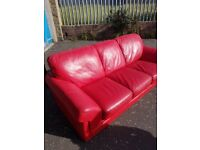 2 x Red Leather 3 seaters