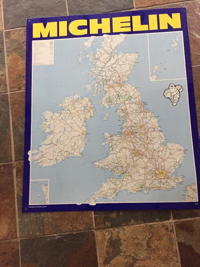 Michelin tyres garage plaque metal uk map collectible item for Location plaque garage