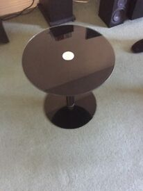 Glass black side table