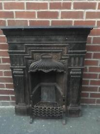 Antique cast iron fireplace OPEN FIRE vintage